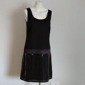 Ann Taylor Loft sleeveless sequin black dress